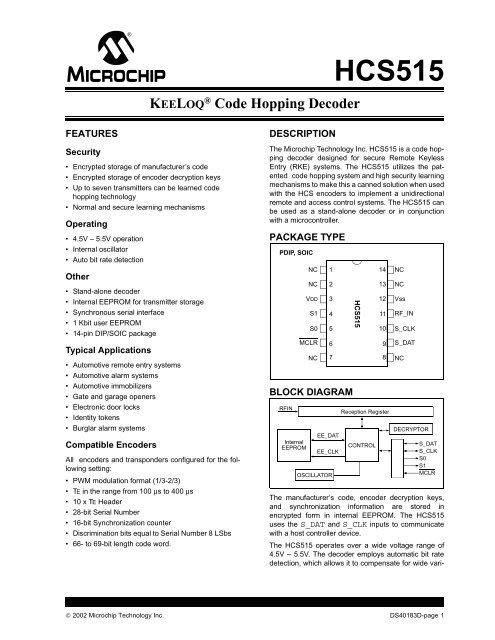 HCS515 KEELOQ Code Hopping Decoder - Es co th