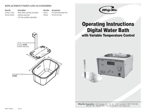 Operating Instructions Digital Water Bath - Whip Mix