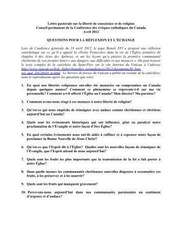 Questions pour réflexion - Conférence des évêques catholiques du ...