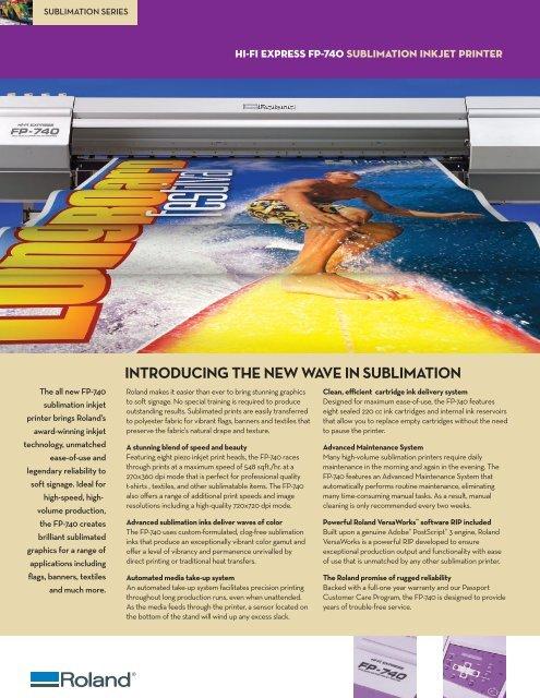 FP-740 Datasheet - Support - Roland DGA Corporation