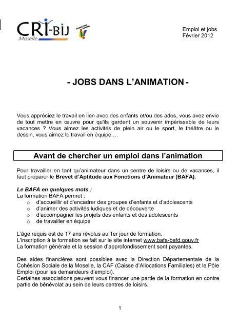 Jobs Dans L Animation Cri Bij