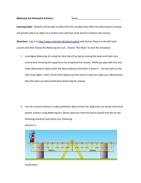 Balancing Act Homework Activity 1     - PhET