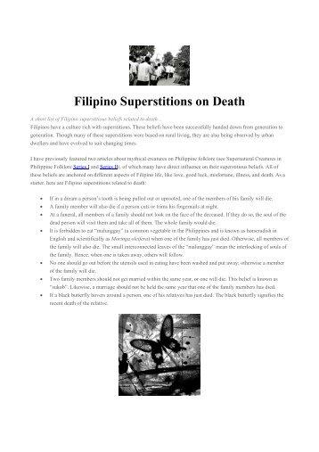 Filipino Superstitions on Death - Philippine Culture