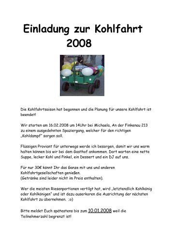 kohlfahrt magazine, Einladung