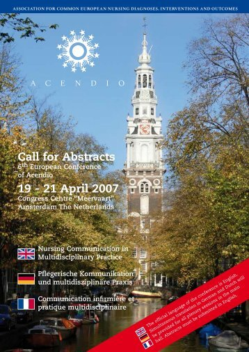 Call for Abstracts 19 - 21 April 2007