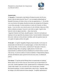 Relatório Liberdade de Imprensa no Brasil 2013 - Abert