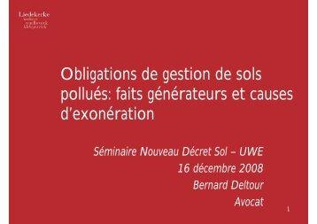 Obligations de gestion de sols pollués - Union Wallonne des ...