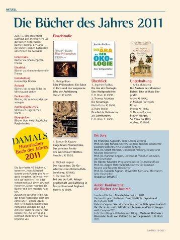 Die Bücher des Jahres 2011 - Damals