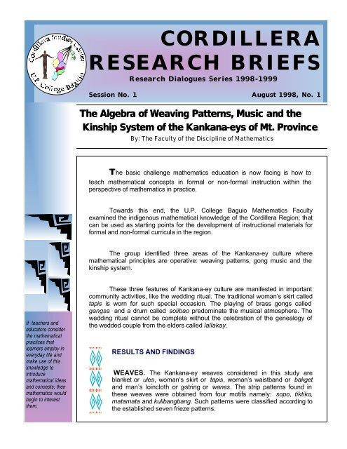 Research Brief Aug 1998-2 - Cordillera Studies Center