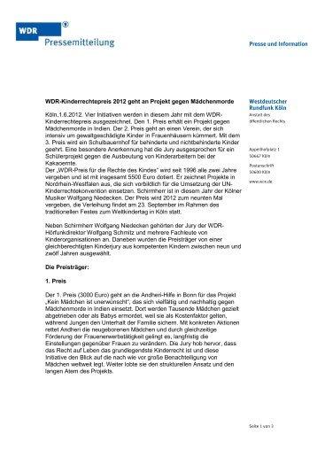 Pressemitteilung - Wdr.de