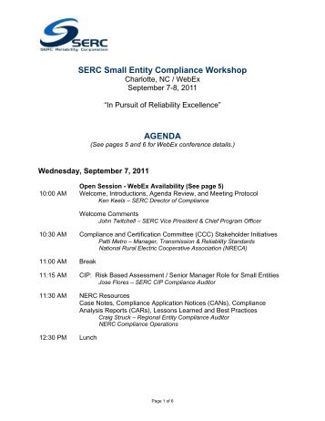 Charlotte Agenda - SERC Home Page