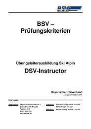 BSV – Prüfungskriterien DSV-Instructor - Bayerischer Skiverband
