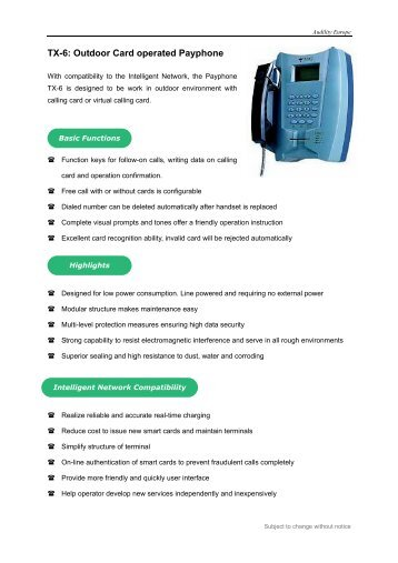 TX-6: Outdoor Card operated Payphone - Viva
