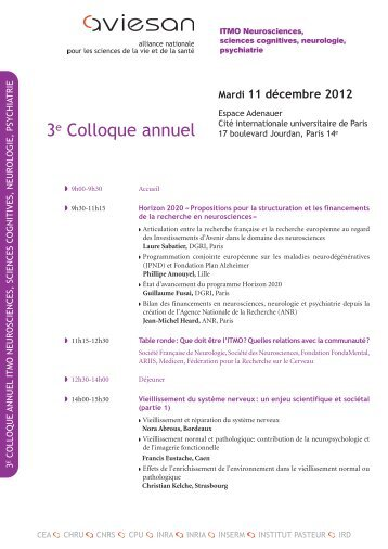 Programmation - ITMO Neurosciences, Sciences cognitives ...