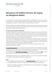 Menopause und weibliche Hormone - Paracelsus Klinik Lustmühle