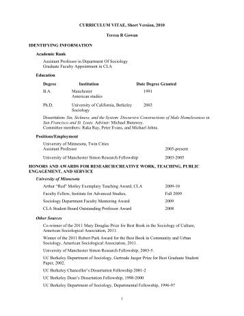 curriculum vitae for promotion and tenure - Department of Sociology ...