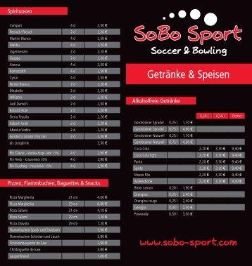 Getränke & Speisen - SoBo Sport