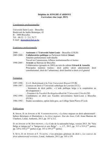 de JONGHE d'ARDOYE Delphine - Centres FUSL - Facultés ...