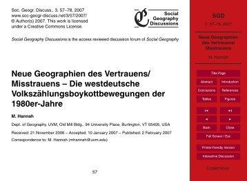 Neue Geographien des Vertrauens/ Misstrauens - SGD