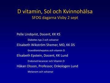 Vitamin D and Thromboembolism - SFOG