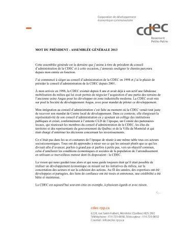 MOT DU PRÉSIDENT - ASSEMBLÉE GÉNÉRALE ... - Cdec-rpp.ca