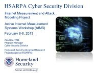 Internet Measurement and Attack Modeling Project - Caida