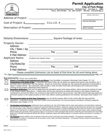 Building Permit Application Form - City of Independence, Kansas