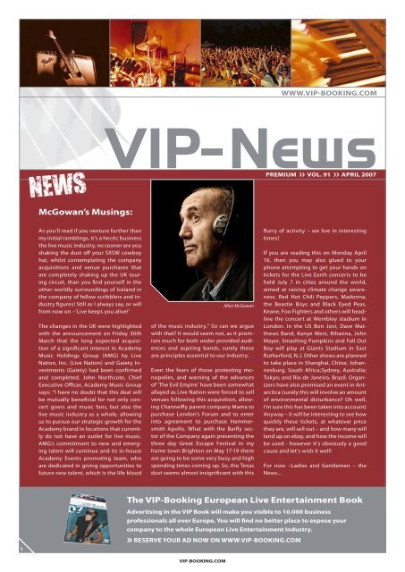 VIP newsletter April07.indd - VIP-Booking
