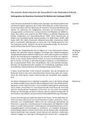 Die sozialen Determinanten der Gesundheit in ... - Nationale Kohorte