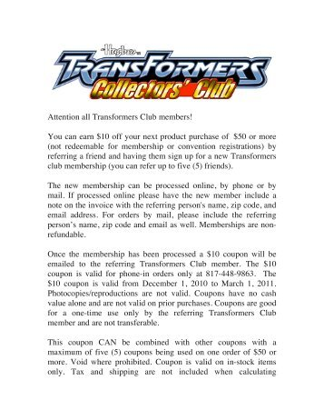 Attention all Transformers Club members! - Transformers Collectors ...