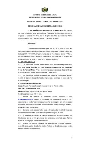 EDITAL - SEAD - Governo do Estado do Amapá