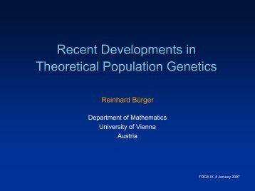 Recent Developments in Theoretical Population Genetics - sigevo