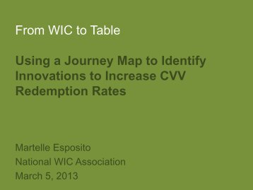 From WIC to Table Using a Journey Map to Identify Innovations to ...