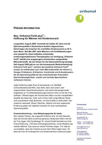 Neu: Orthomol Fertil plus® – Hoffnung für Männer mit Kinderwunsch