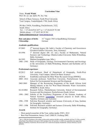 Curriculum Vitae Name: Frank Winde Prof. Dr. rer. nat ... - mwrg.co.za