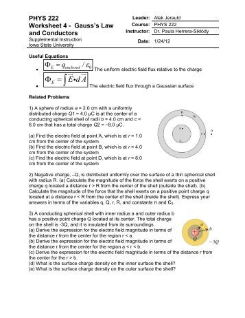 PHYS 222 Worksheet 4 Gauss's law and Conductors - Iowa State ...
