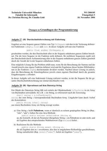 Übungen zu Grundlagen der Programmierung