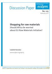 Discussion Paper 105: Shopping for raw materials: Should ... - ecdpm