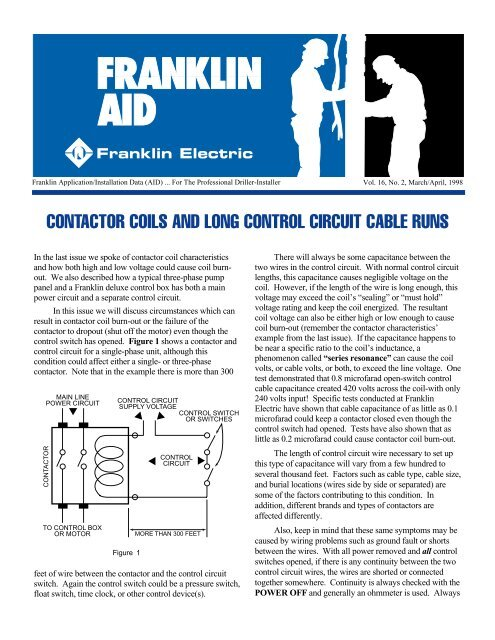 contactor coils and long control circuit cable runs