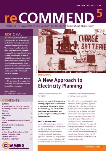 A New Approach to Electricity Planning - COMMEND: Community for ...