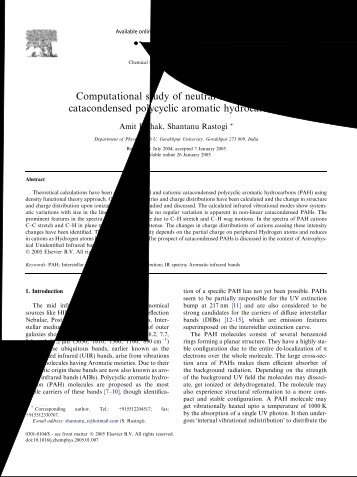 Computational study of neutral and cationic catacondensed ... - iucaa