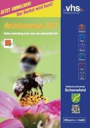 Herbstsemester 2013 - Volkshochschule der Stadt Schenefeld