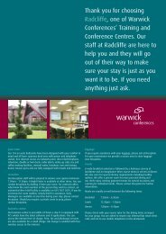 Thank you for choosing Radcliffe, one of Warwick Conferences ...