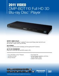 2011 VIDEO DMP-BDT110 Full HD 3D Blu-ray Disc ... - Panasonic