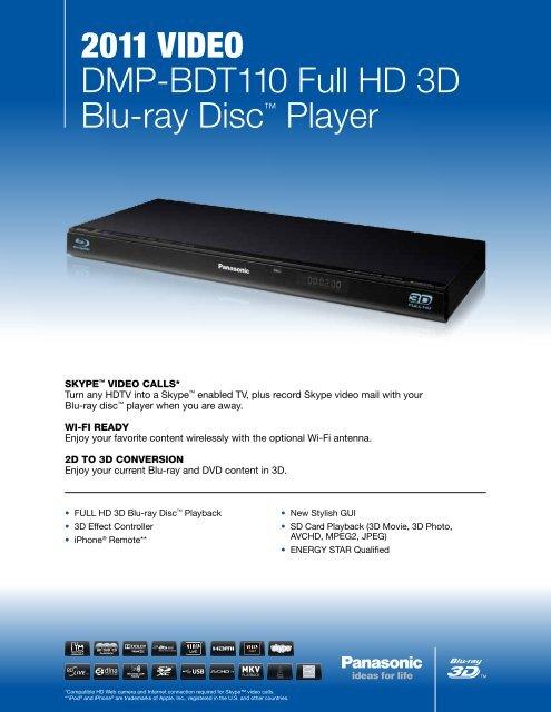 2011 VIDEO DMP-BDT110 Full HD 3D Blu-ray Disc     - Panasonic