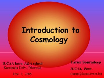 The Realm of Cosmology - iucaa