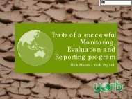 Traits of a successful Monitoring, Evaluation and Reporting program