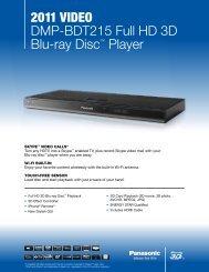 """2011 VIDEO DMP-BDT215 Full HD 3D Blu-ray Discâ""""¢ Player"""
