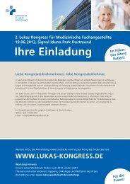 Ihre Einladung - 2. Lukas Kongress für medizinische Fachangestellte