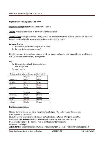 Protokoll zur Sitzung vom 24.11.2009 Variation in der ...